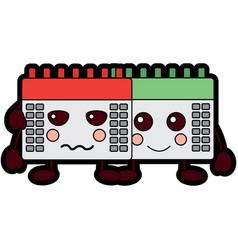 kawaii set calendar plan cartoon vector image
