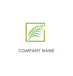 leaf tropic eco logo vector image