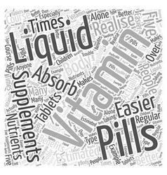 Liquid Vitamin Word Cloud Concept vector