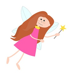 Little Cute Fairy Girl with Long Hair vector