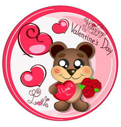 Logo bear love vector