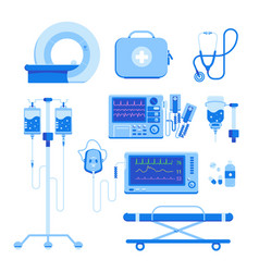 Medical equipment set mri a defibrillator an vector