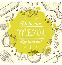 menu food restaurant background cook kitchen chef vector image