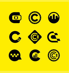 modern professional icon set c for taxi industry vector image