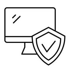monitor with approve checkmark in shield thin vector image