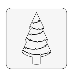 monochrome contour square with christmas tree vector image