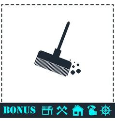 Mop bucket icon flat vector