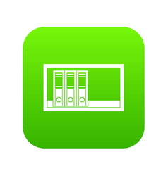 office folders on the shelf icon digital green vector image