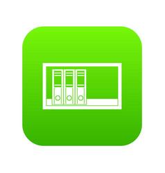 Office folders on the shelf icon digital green vector