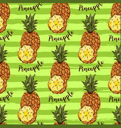 pineapple tropical fruits seamless pattern hand vector image