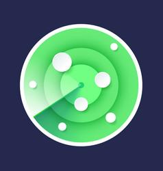 Radar detector isolated green icon on dark vector