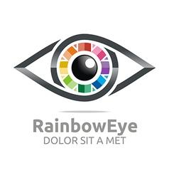 Rainbow eye circle eyeball symbol logo vector