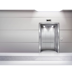 Realistic empty elevator hall interior vector