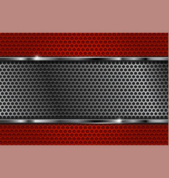Red perforated texture with silver element vector