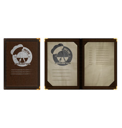 Restaurant menu notebook in brown leather binding vector