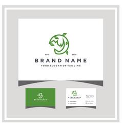 Rhino leaf logo design and business card vector