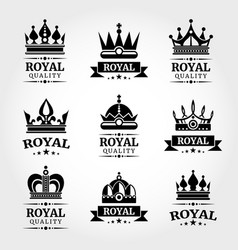 Royal quality crowns logo templates set in vector