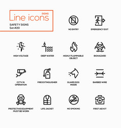 safety signs - modern single line icons set vector image