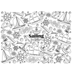 Sailing colorless set vector