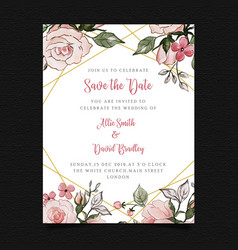 save date floral wedding invitation vector image