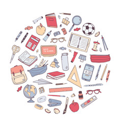 school supplies arranged into circle round vector image