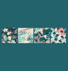 seamless exotic patterns with tropical plants and vector image