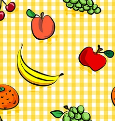 Seamless grungy fruits over yellow gingham pattern vector image vector image