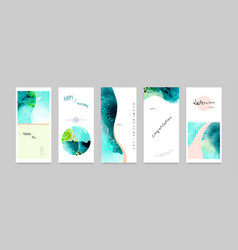 Set hand-painted watercolor card vector