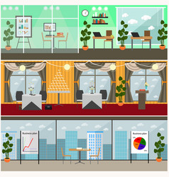 Set of business interior posters banners vector
