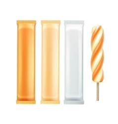 Set of Caramel Spiral Ice Cream Fruit Juice vector