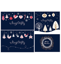set of christmas banners and cards vector image