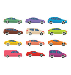 set of twelve multicolored cars vector image