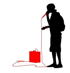 Silhouette of the guy beatbox with a microphone vector