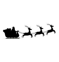 silhouette sleigh reindeers of santa claus vector image