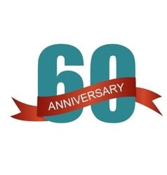 Sixty 60 Years Anniversary Label Sign for your vector image