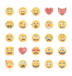 smiley flat icons set 5 vector image