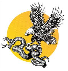 snake and eagle logo design vector image