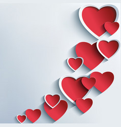 Trendy abstract background with 3d hearts vector