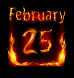 twenty-fifth february in calendar of fire icon on vector image