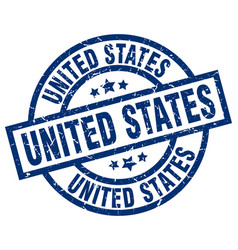 united states blue round grunge stamp vector image