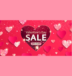 valentines day sale banner with glitters and vector image