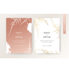 wedding invite card floral design rose gold color vector image