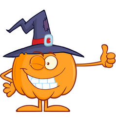 Winking witch pumpkin cartoon character vector
