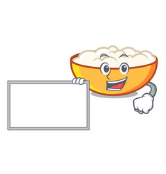 With board cottage cheese character cartoon vector