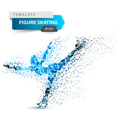 woman figure skating on the white background vector image
