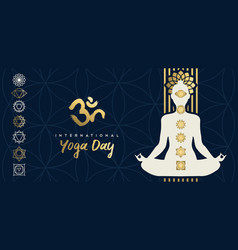 yoga day banner gold woman in lotus pose vector image