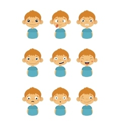 Young Boy Portrait Icons With Different Emotions vector
