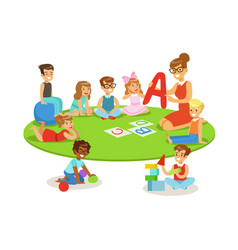 Young children learning alphabet and playing in vector