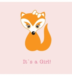 Baby girl fox arrival announcement birth card vector image