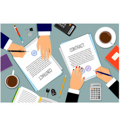businessman hands signing documents vector image